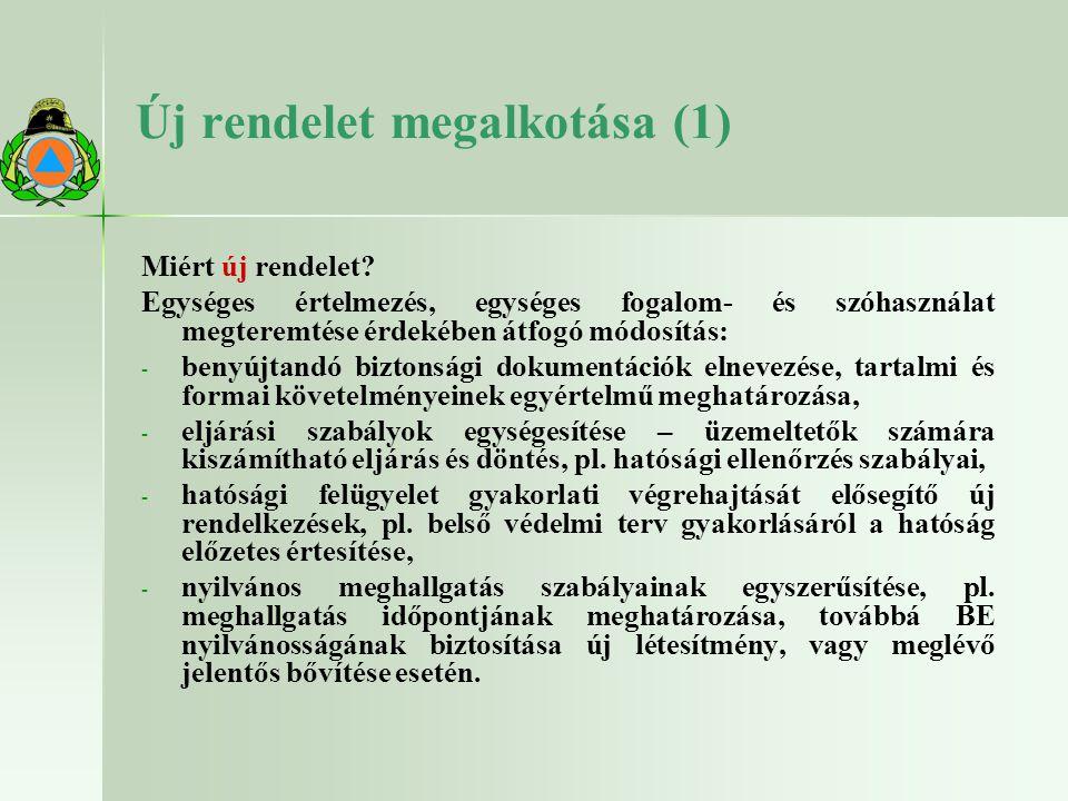 Új rendelet megalkotása (1) Miért új rendelet? Egységes értelmezés, egységes fogalom- és szóhasználat megteremtése érdekében átfogó módosítás: - - ben