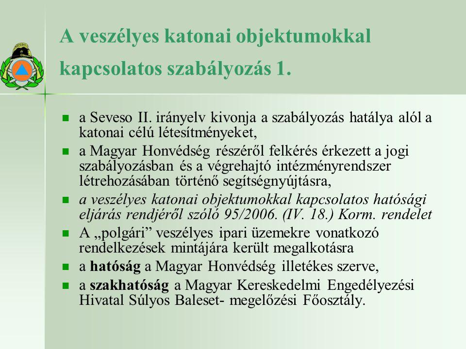 A veszélyes katonai objektumokkal kapcsolatos szabályozás 1. a Seveso II. irányelv kivonja a szabályozás hatálya alól a katonai célú létesítményeket,