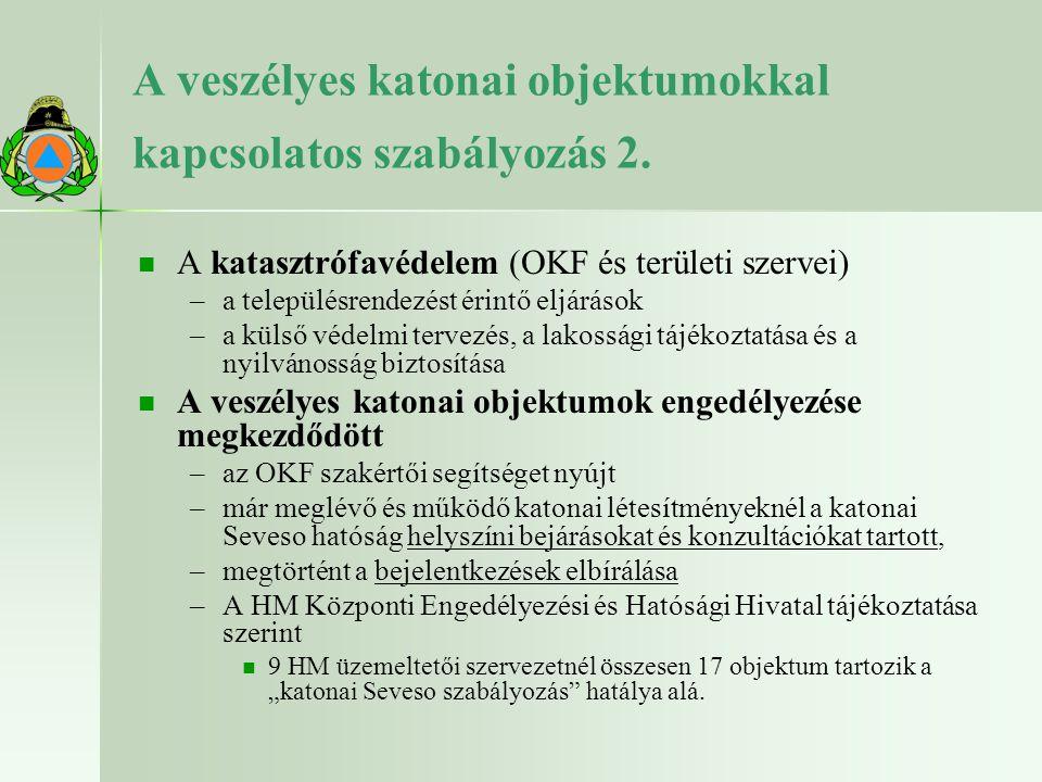 A veszélyes katonai objektumokkal kapcsolatos szabályozás 2. A katasztrófavédelem (OKF és területi szervei) – –a településrendezést érintő eljárások –