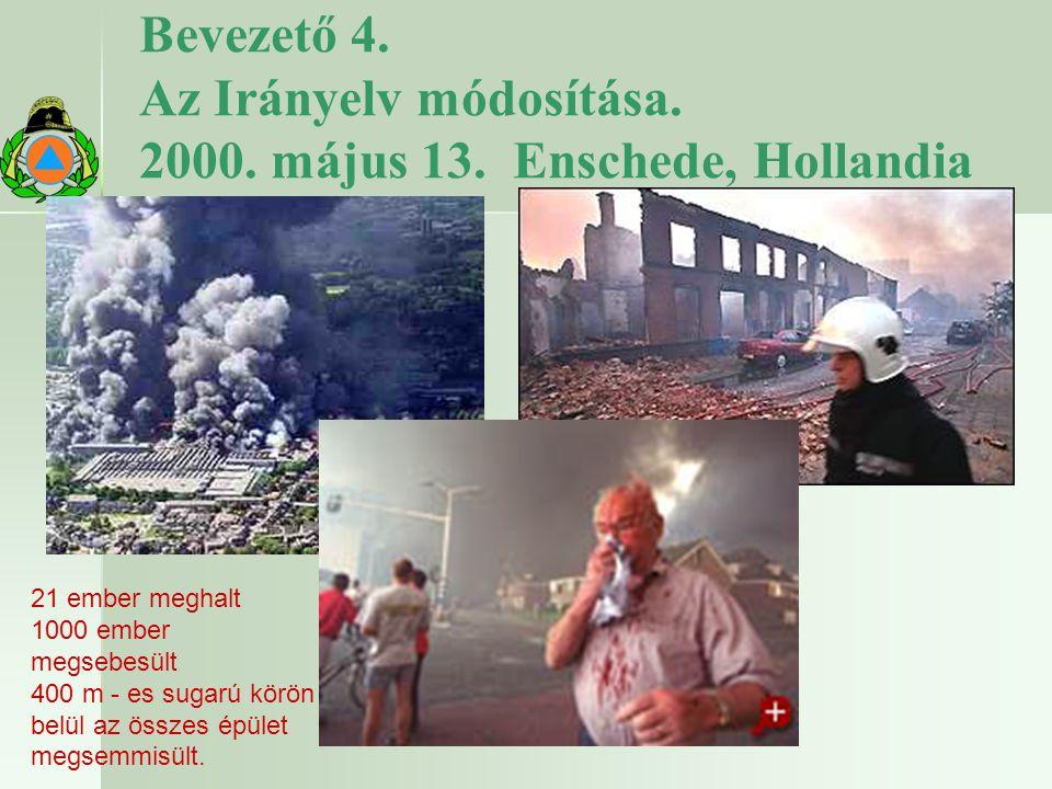 Bevezető 4. Az Irányelv módosítása. 2000. május 13. Enschede, Hollandia 21 ember meghalt 1000 ember megsebesült 400 m - es sugarú körön belül az össze
