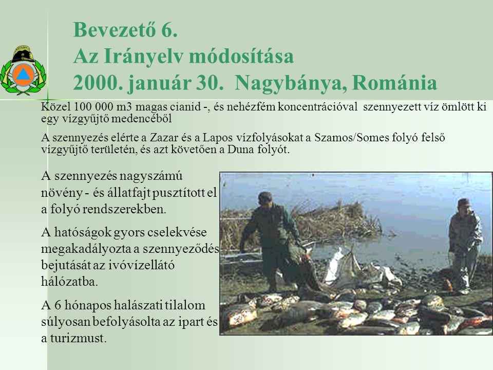 Bevezető 6. Az Irányelv módosítása 2000. január 30. Nagybánya, Románia A szennyezés nagyszámú növény - és állatfajt pusztított el a folyó rendszerekbe