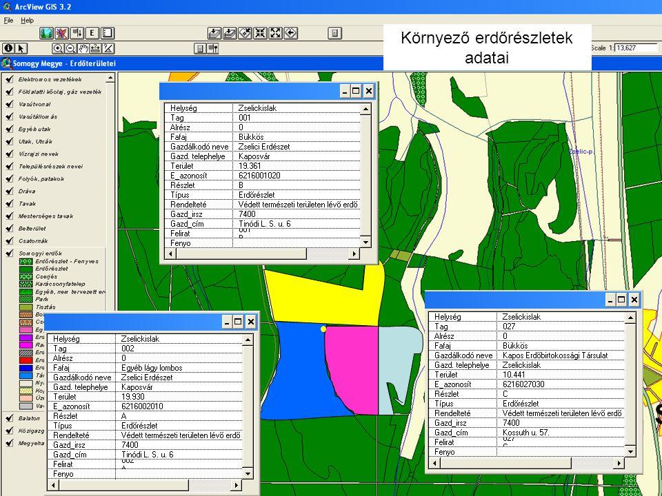 Környező erdőrészletek adatai