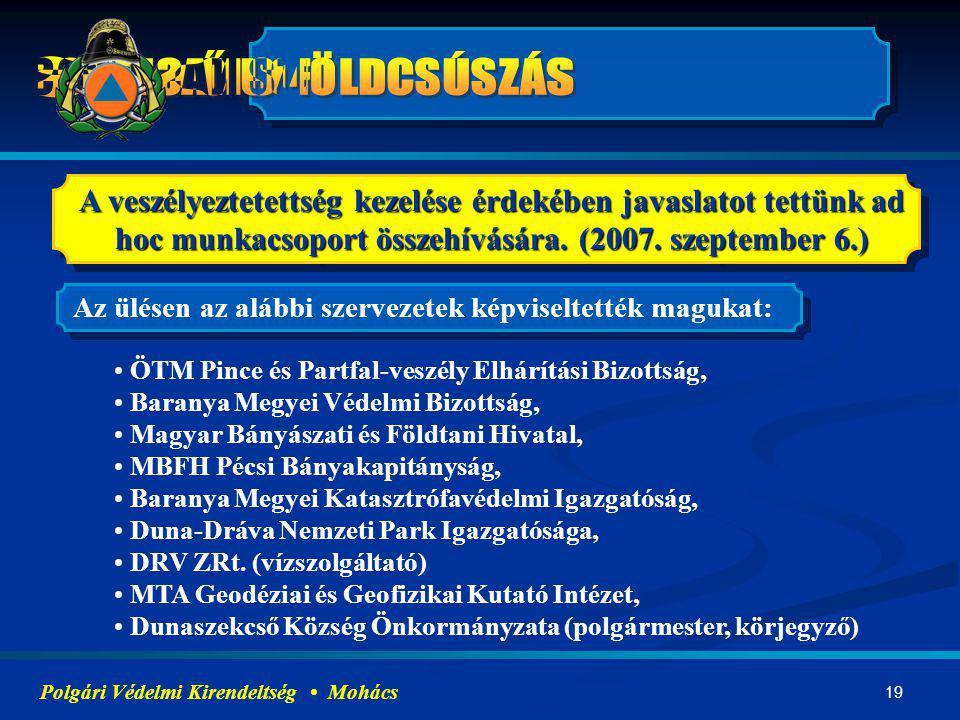 19 A veszélyeztetettség kezelése érdekében javaslatot tettünk ad hoc munkacsoport összehívására. (2007. szeptember 6.) Polgári Védelmi Kirendeltség Mo