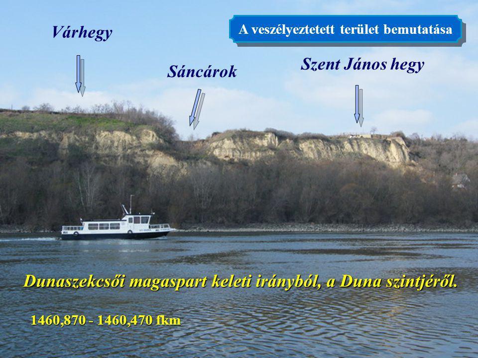 3 Várhegy Szent János hegy Sáncárok Dunaszekcsői magaspart keleti irányból, a Duna szintjéről. 1460,870 - 1460,470 fkm A veszélyeztetett terület bemut