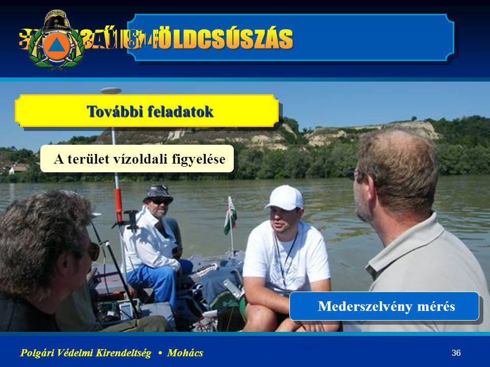 36 Polgári Védelmi Kirendeltség Mohács További feladatok A terület vízoldali figyelése Mederszelvény mérés