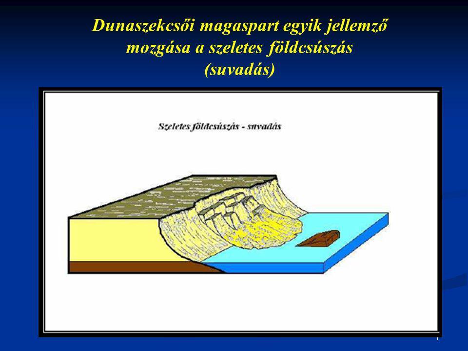7 Dunaszekcsői magaspart egyik jellemző mozgása a szeletes földcsúszás (suvadás)