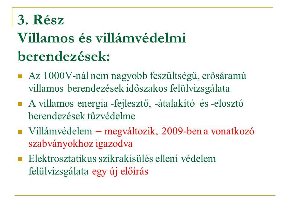 3. Rész Villamos és villámvédelmi berendezések: Az 1000V-nál nem nagyobb feszültségű, erősáramú villamos berendezések időszakos felülvizsgálata A vill