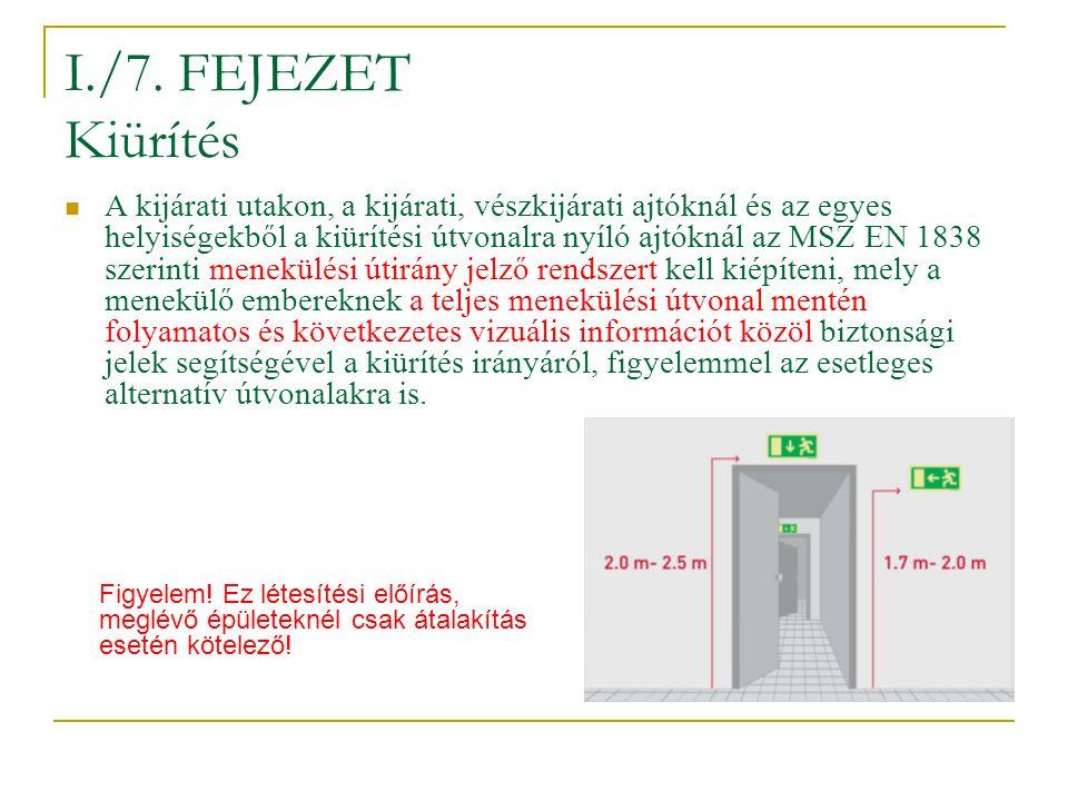 I./7. FEJEZET Kiürítés A kijárati utakon, a kijárati, vészkijárati ajtóknál és az egyes helyiségekből a kiürítési útvonalra nyíló ajtóknál az MSZ EN 1