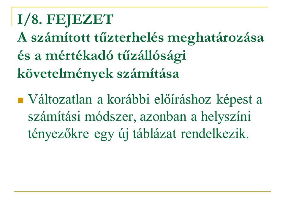 I/8. FEJEZET A számított tűzterhelés meghatározása és a mértékadó tűzállósági követelmények számítása Változatlan a korábbi előíráshoz képest a számít
