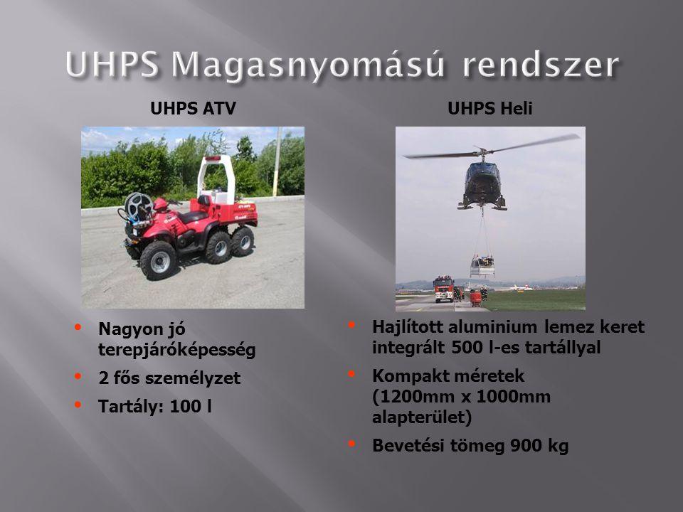 UHPS ATVUHPS Heli  Nagyon jó terepjáróképesség  2 fős személyzet  Tartály: 100 l  Hajlított aluminium lemez keret integrált 500 l-es tartállyal 