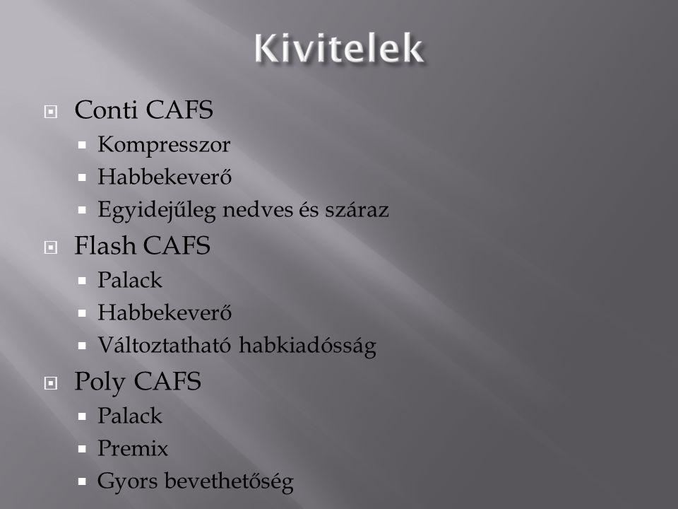  Conti CAFS  Kompresszor  Habbekeverő  Egyidejűleg nedves és száraz  Flash CAFS  Palack  Habbekeverő  Változtatható habkiadósság  Poly CAFS 