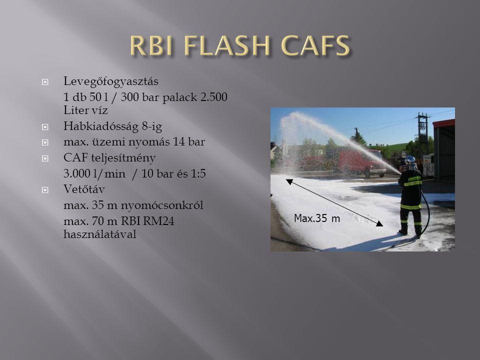  Levegőfogyasztás 1 db 50 l / 300 bar palack 2.500 Liter víz  Habkiadósság 8-ig  max. üzemi nyomás 14 bar  CAF teljesítmény 3.000 l/min / 10 bar é