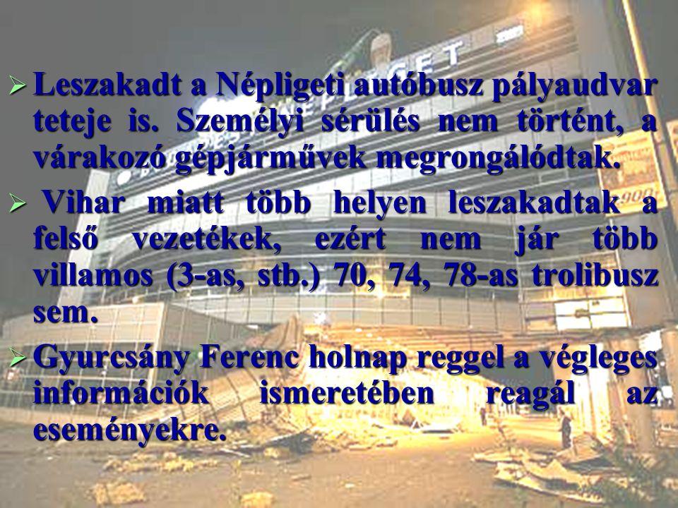  Leszakadt a Népligeti autóbusz pályaudvar teteje is. Személyi sérülés nem történt, a várakozó gépjárművek megrongálódtak.  Vihar miatt több helyen