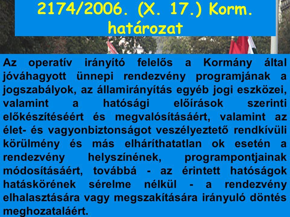 2174/2006. (X. 17.) Korm. határozat Az operatív irányító felelős a Kormány által jóváhagyott ünnepi rendezvény programjának a jogszabályok, az államir