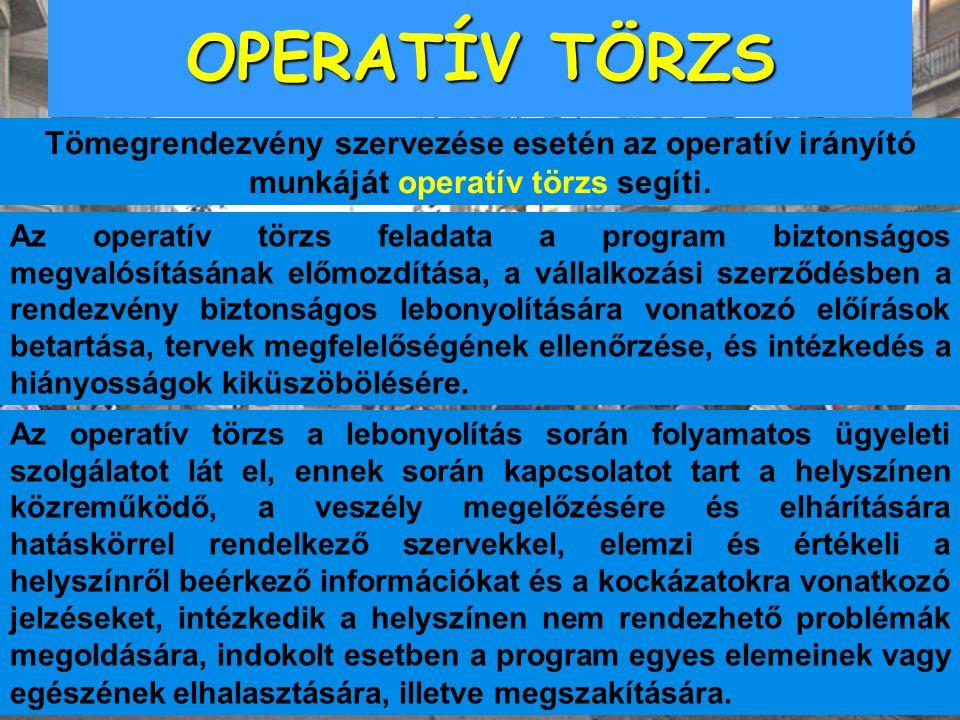 OPERATÍV TÖRZS Az operatív törzs a lebonyolítás során folyamatos ügyeleti szolgálatot lát el, ennek során kapcsolatot tart a helyszínen közreműködő, a
