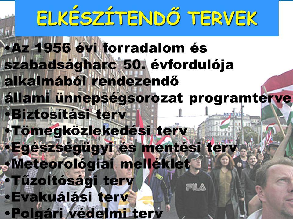ELKÉSZÍTENDŐ TERVEK Az 1956 évi forradalom és szabadságharc 50. évfordulója alkalmából rendezendő állami ünnepségsorozat programterve Biztosítási terv