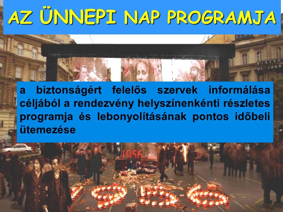 a biztonságért felelős szervek informálása céljából a rendezvény helyszínenkénti részletes programja és lebonyolításának pontos időbeli ütemezése AZ Ü