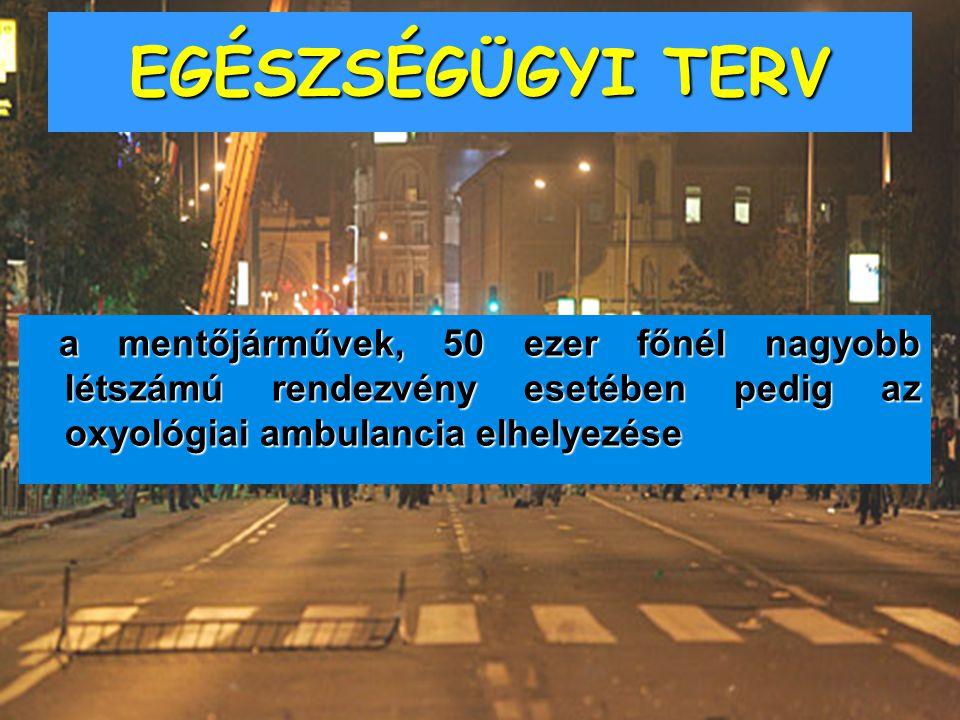 EGÉSZSÉGÜGYI TERV a mentőjárművek, 50 ezer főnél nagyobb létszámú rendezvény esetében pedig az oxyológiai ambulancia elhelyezése a mentőjárművek, 50 e