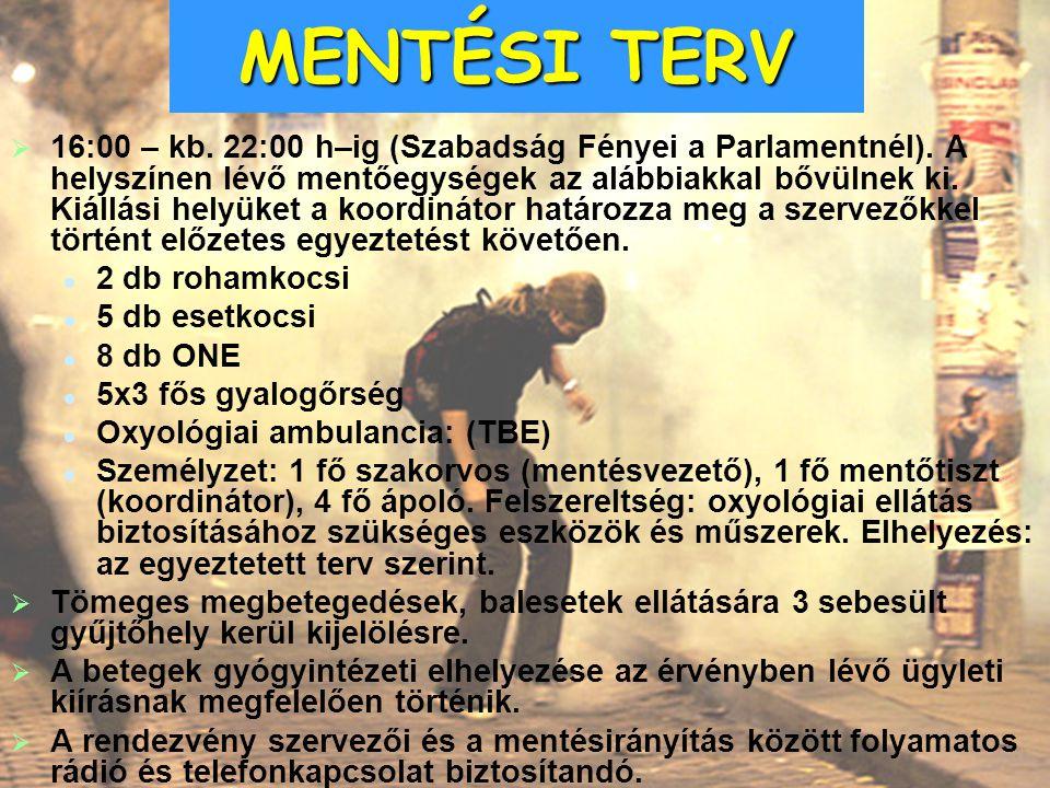   16:00 – kb. 22:00 h–ig (Szabadság Fényei a Parlamentnél). A helyszínen lévő mentőegységek az alábbiakkal bővülnek ki. Kiállási helyüket a koordiná