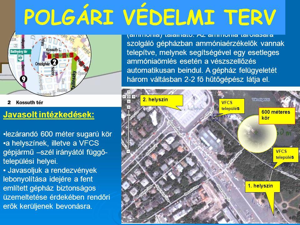 2. helyszín 600 méteres kör VFCS települé s 1. helyszín ÖTM OKF KIG Települési hely: MEH parkoló, Kossuth tér Javasolt intézkedések: lezárandó 600 mét