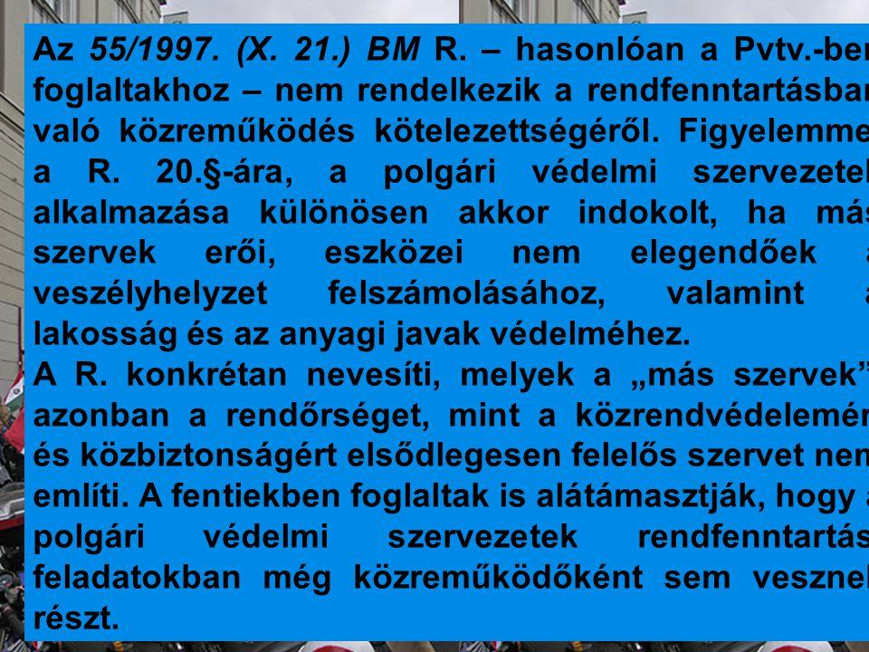 Az 55/1997. (X. 21.) BM R. – hasonlóan a Pvtv.-ben foglaltakhoz – nem rendelkezik a rendfenntartásban való közreműködés kötelezettségéről. Figyelemmel