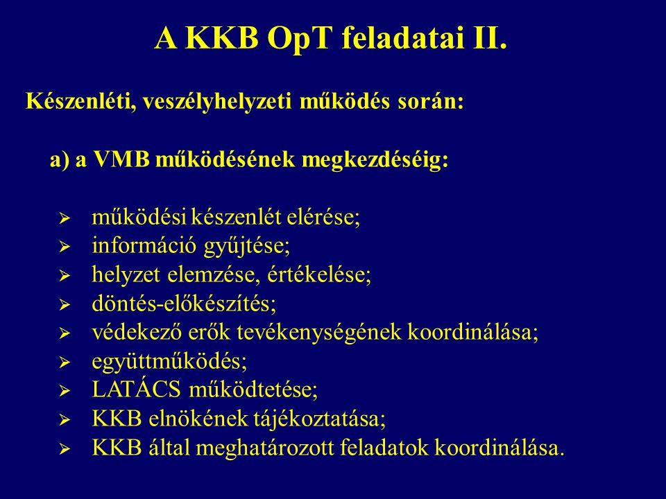 A KKB OpT feladatai II. Készenléti, veszélyhelyzeti működés során: a) a VMB működésének megkezdéséig:  működési készenlét elérése;  információ gyűjt