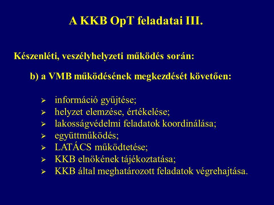 A KKB OpT feladatai III. Készenléti, veszélyhelyzeti működés során: b) a VMB működésének megkezdését követően:  információ gyűjtése;  helyzet elemzé