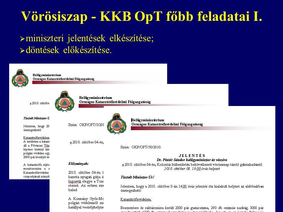 Vörösiszap - KKB OpT főbb feladatai I.  miniszteri jelentések elkészítése;  döntések előkészítése.