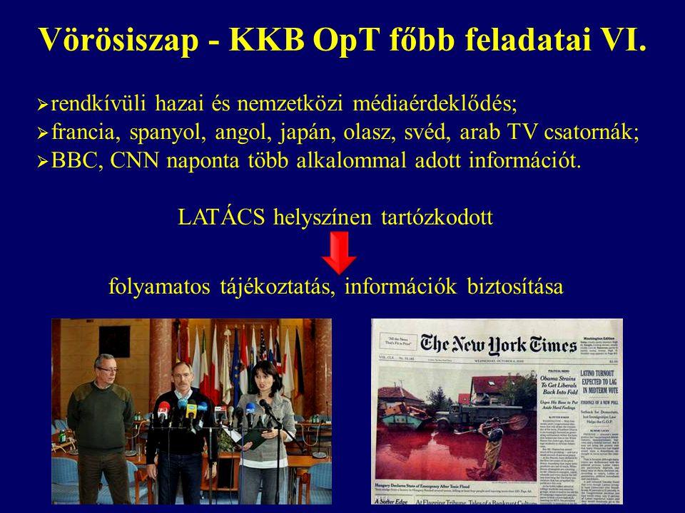 Vörösiszap - KKB OpT főbb feladatai VI. LATÁCS helyszínen tartózkodott  rendkívüli hazai és nemzetközi médiaérdeklődés;  francia, spanyol, angol, ja