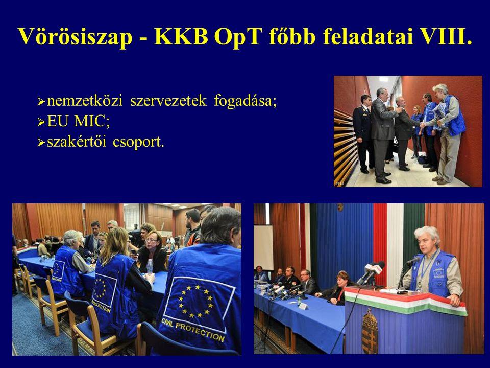  nemzetközi szervezetek fogadása;  EU MIC;  szakértői csoport. Vörösiszap - KKB OpT főbb feladatai VIII.