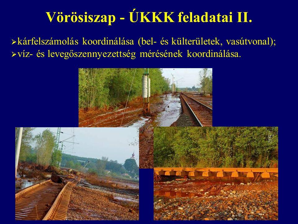  kárfelszámolás koordinálása (bel- és külterületek, vasútvonal);  víz- és levegőszennyezettség mérésének koordinálása. Vörösiszap - ÚKKK feladatai I