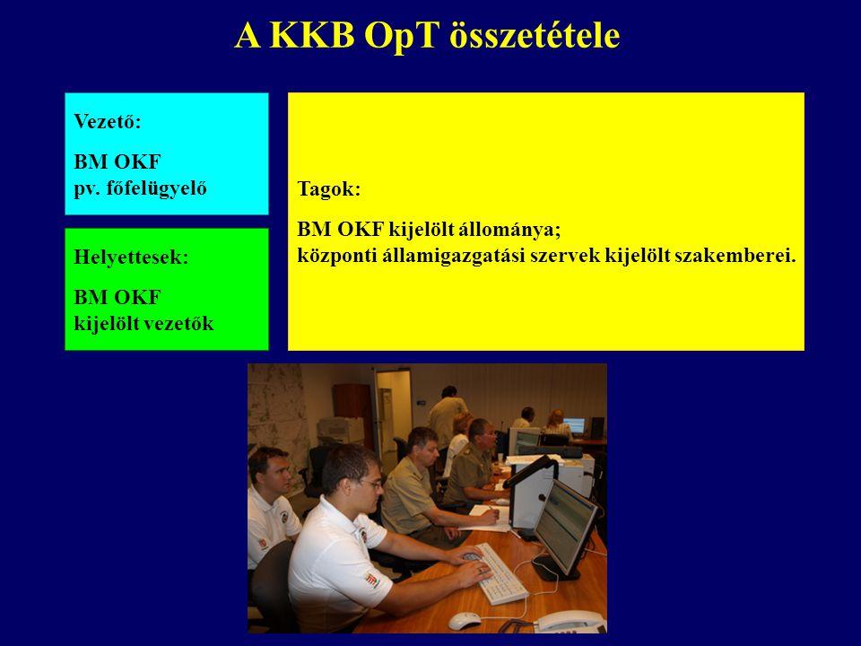 A KKB OpT összetétele Vezető: BM OKF pv. főfelügyelő Helyettesek: BM OKF kijelölt vezetők Tagok: BM OKF kijelölt állománya; központi államigazgatási s