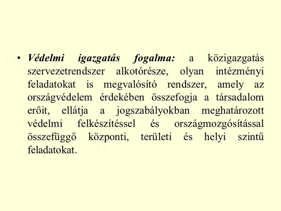 Védelmi igazgatás szintjei:  központi (OGY, OGY HB, HT, KE, Kormány, Honvédelmi miniszter, Miniszter, országos hatáskörű szerv vezetője)  területi (megyei védelmi bizottság)  helyi (helyi védelmi bizottságok, polgármesterek, jegyzők)