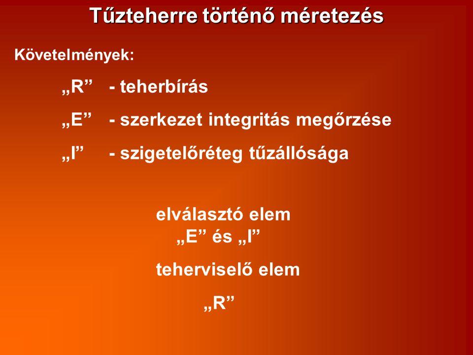 """Tűzteherre történő méretezés Követelmények: """"R""""- teherbírás """"E"""" - szerkezet integritás megőrzése """"I"""" - szigetelőréteg tűzállósága elválasztó elem """"E"""""""