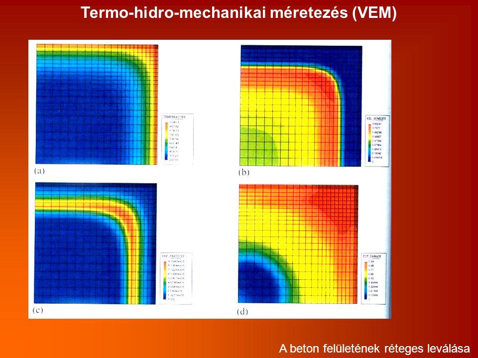 Termo-hidro-mechanikai méretezés (VEM) A beton felületének réteges leválása