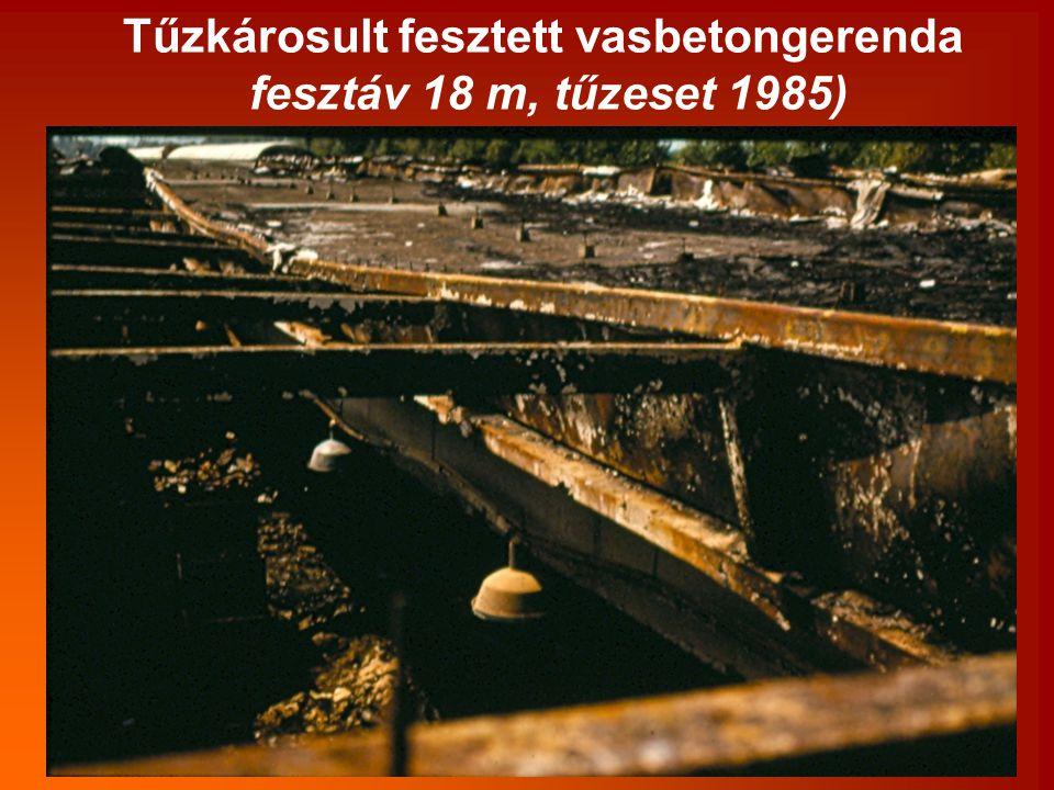Tűzkárosult fesztett vasbetongerenda fesztáv 18 m, tűzeset 1985)