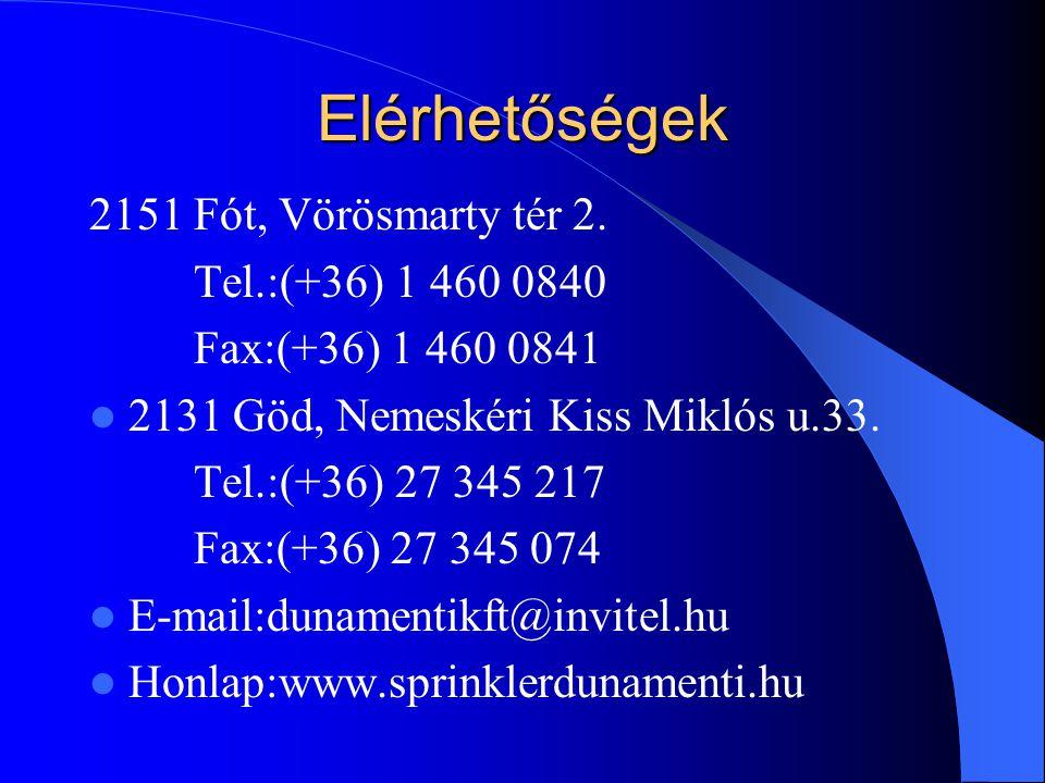 Elérhetőségek 2151 Fót, Vörösmarty tér 2. Tel.:(+36) 1 460 0840 Fax:(+36) 1 460 0841 2131 Göd, Nemeskéri Kiss Miklós u.33. Tel.:(+36) 27 345 217 Fax:(