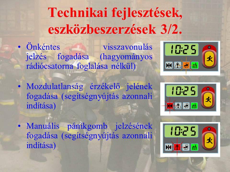 Technikai fejlesztések, eszközbeszerzések 3/2. Önkéntes visszavonulás jelzés fogadása (hagyományos rádiócsatorna foglalása nélkül) Mozdulatlanság érzé