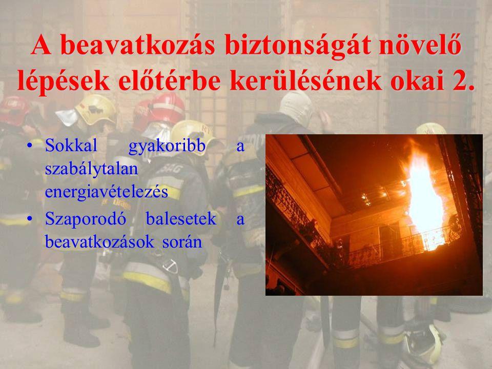 A beavatkozás biztonságát növelő lépések előtérbe kerülésének okai 2. Sokkal gyakoribb a szabálytalan energiavételezés Szaporodó balesetek a beavatkoz