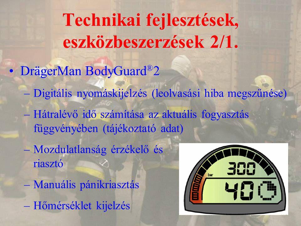 Technikai fejlesztések, eszközbeszerzések 2/1. DrägerMan BodyGuard ® 2DrägerMan BodyGuard ® 2 –Digitális nyomáskijelzés (leolvasási hiba megszűnése) –