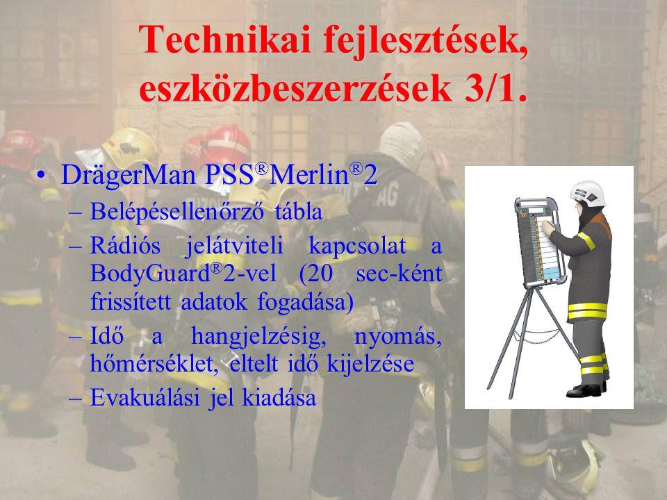 Technikai fejlesztések, eszközbeszerzések 3/1. DrägerMan PSS ® Merlin ® 2DrägerMan PSS ® Merlin ® 2 –Belépésellenőrző tábla –Rádiós jelátviteli kapcso