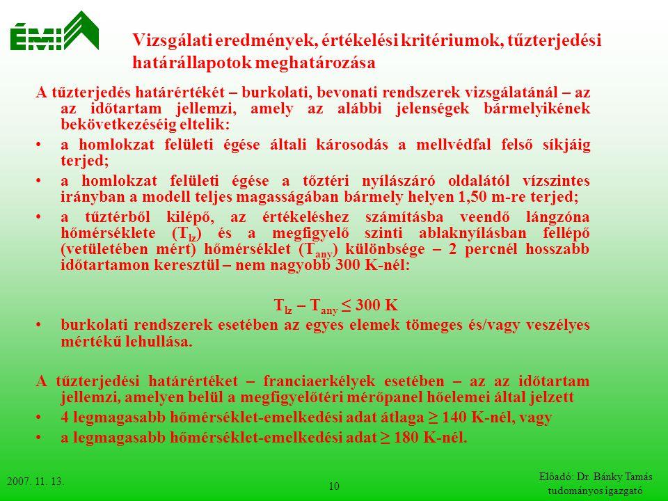 2007. 11. 13. Előadó: Dr. Bánky Tamás tudományos igazgató 10 Vizsgálati eredmények, értékelési kritériumok, tűzterjedési határállapotok meghatározása