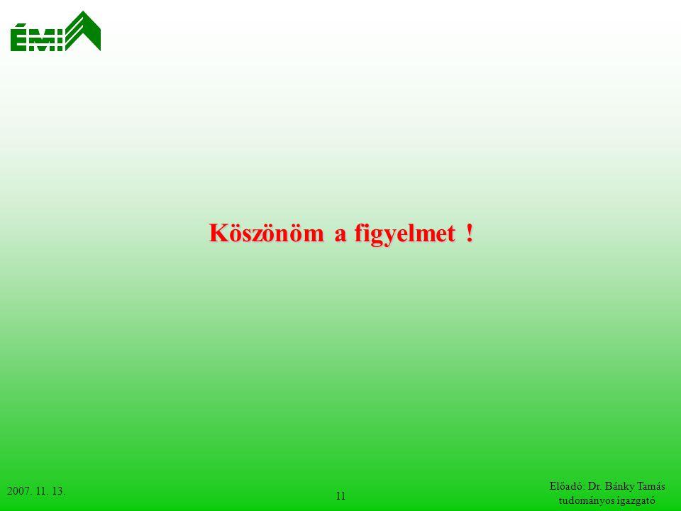 2007. 11. 13. Előadó: Dr. Bánky Tamás tudományos igazgató 11 Köszönöm a figyelmet !
