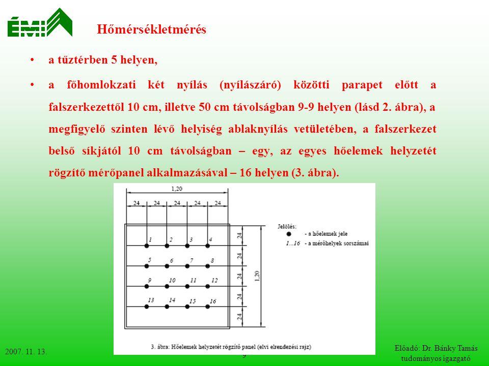 2007. 11. 13. Előadó: Dr. Bánky Tamás tudományos igazgató 9 Hőmérsékletmérés a tűztérben 5 helyen, a főhomlokzati két nyílás (nyílászáró) közötti para