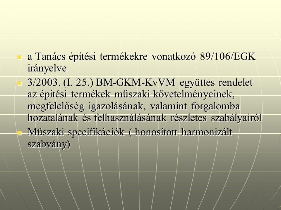 a Tanács építési termékekre vonatkozó 89/106/EGK irányelve a Tanács építési termékekre vonatkozó 89/106/EGK irányelve 3/2003. (I. 25.) BM-GKM-KvVM egy