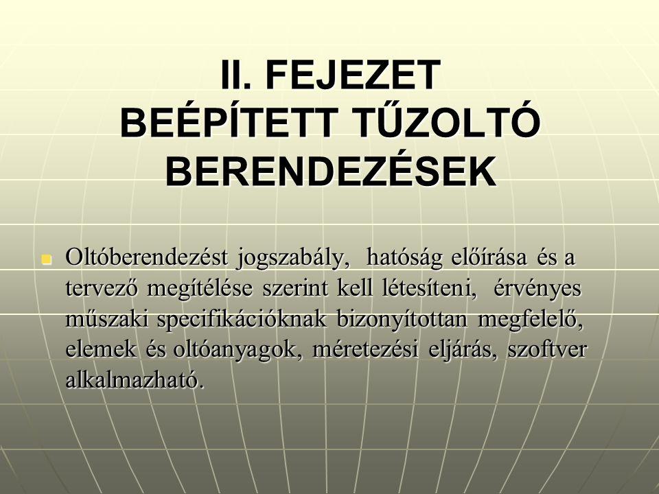 II. FEJEZET BEÉPÍTETT TŰZOLTÓ BERENDEZÉSEK Oltóberendezést jogszabály, hatóság előírása és a tervező megítélése szerint kell létesíteni, érvényes műsz