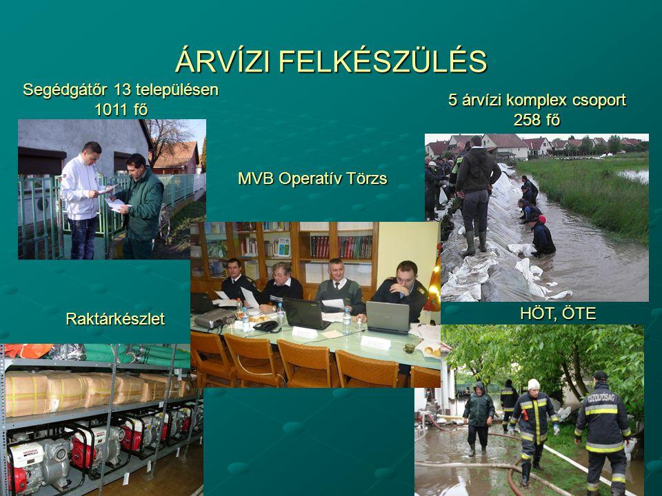 ÁRVÍZI FELKÉSZÜLÉS Segédgátőr 13 településen 1011 fő Raktárkészlet 5 árvízi komplex csoport 258 fő HÖT, ÖTE MVB Operatív Törzs
