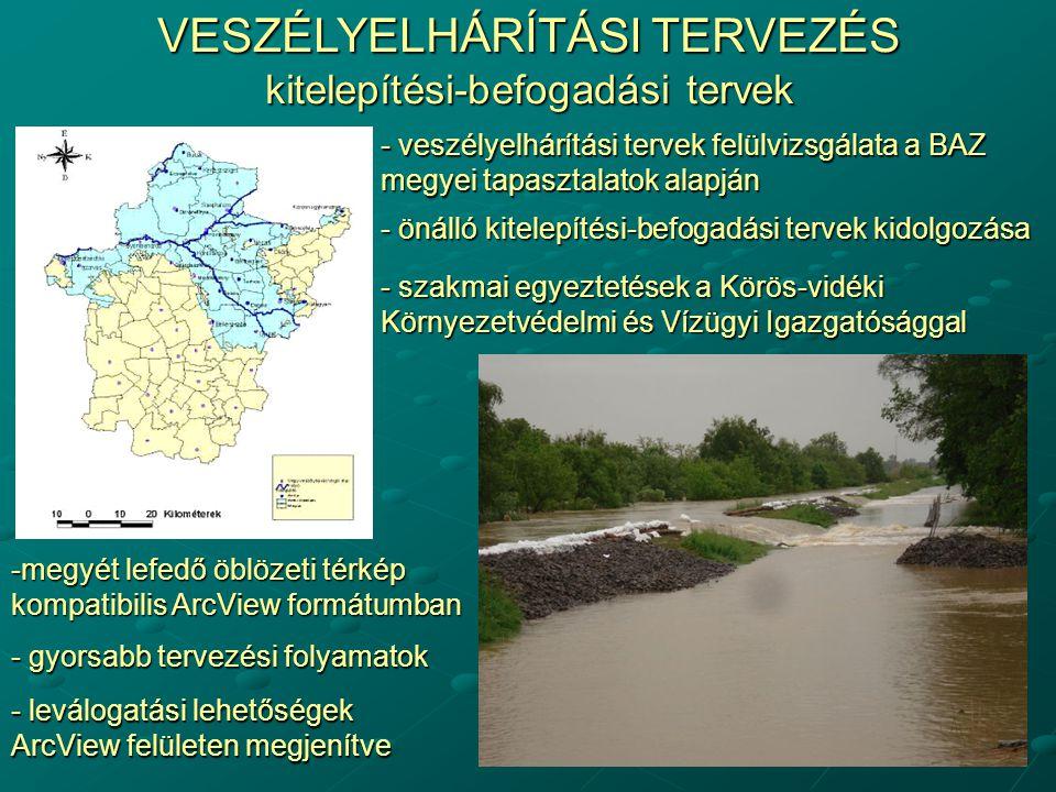ÖBLÖZETI, ELÖNTÉSI TÉRKÉPEK Kiterjedt elöntési területek - 7 árvízi öblözet - kitelepítési, befogadási tervek alapját képezik