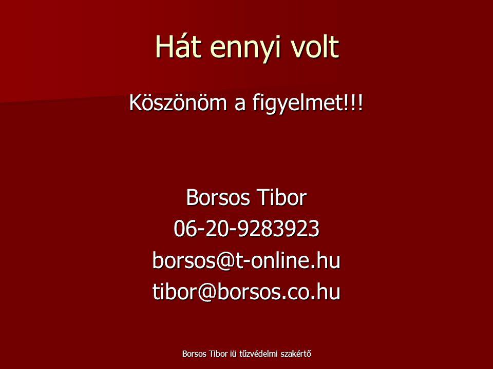 Borsos Tibor iü tűzvédelmi szakértő Hát ennyi volt Köszönöm a figyelmet!!! Borsos Tibor 06-20-9283923borsos@t-online.hutibor@borsos.co.hu
