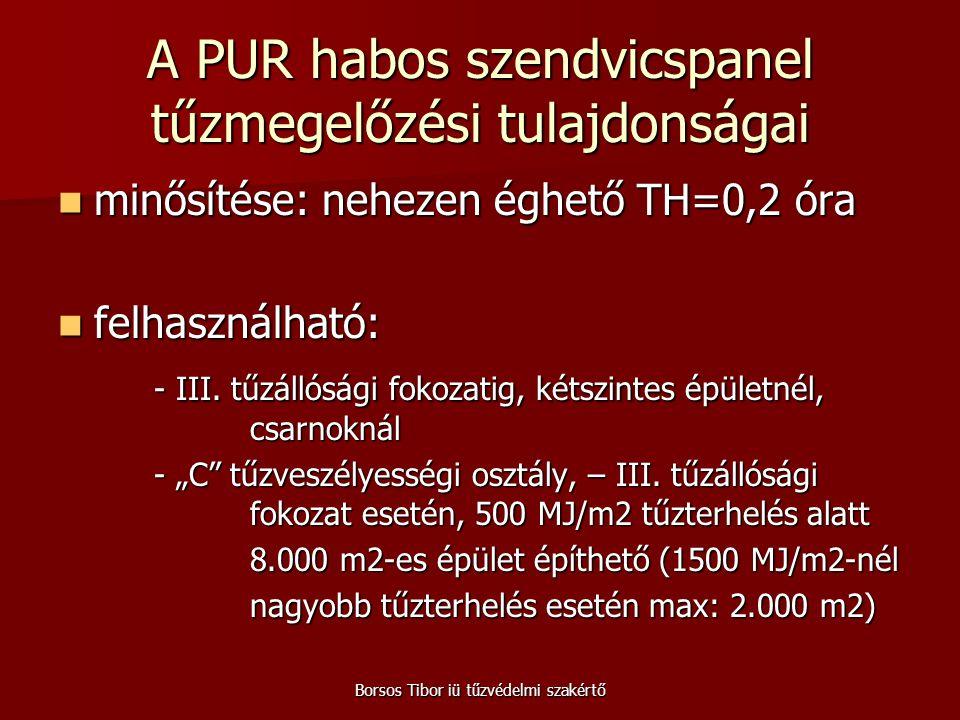 Borsos Tibor iü tűzvédelmi szakértő A PUR habos szendvicspanel tűzmegelőzési tulajdonságai minősítése: nehezen éghető TH=0,2 óra minősítése: nehezen é